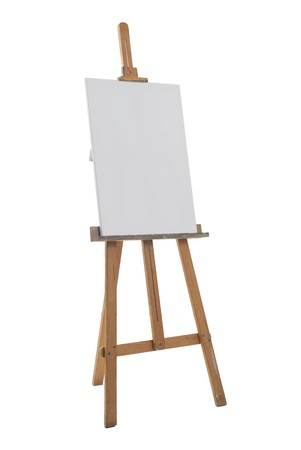 blank canvas: Clean canvas on a easel isolated on a white background. Stock Photo