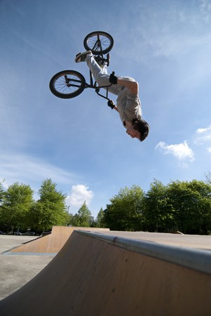 Bmx Back Flip on a skatepark. Stock Photo - 7239516