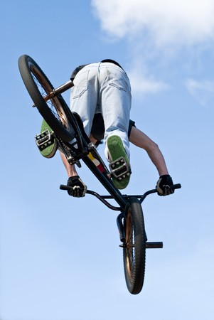 Bmx Aerial on a skatepark. Stock Photo - 7091593