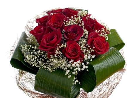 bunch of red roses: Red roses bouquet isolated on white background.