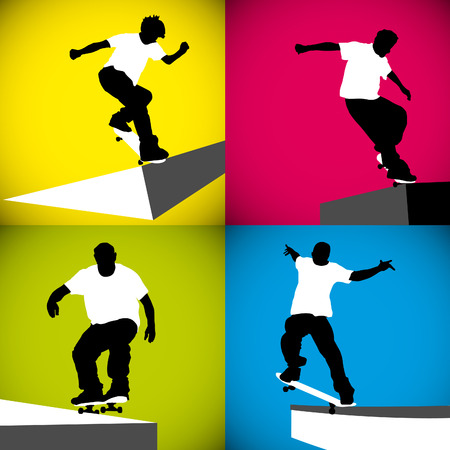 curb: Four silhouettes of skateboarders on a curb. Illustration