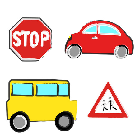 Four naif illustrations of a car, a bus and a stop and danger signs.
