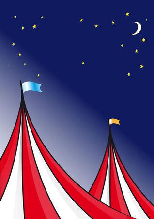 circus tent: Circus tent background and a night sky with stars and moon.