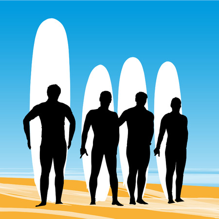 extremesport: Surfers with surfboards posing for the picture on a beach background.