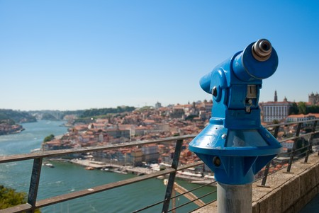 Wide view of the old downtown area of the city of Porto, Portugal. photo
