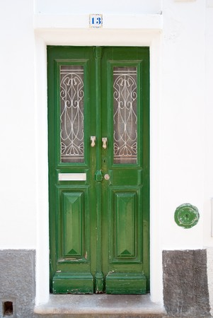 mediterranean houses: Old typical Portuguese door. Stock Photo