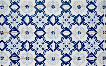 Traditional Portuguese glazed tiles photo