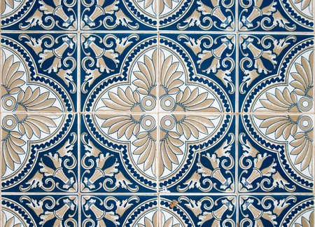 floor covering: Detail of Portuguese glazed tiles. Stock Photo