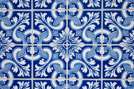 tile grout: Ornamental old typical tiles from Portugal.