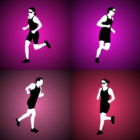 Four silhouettes of running women. Vector