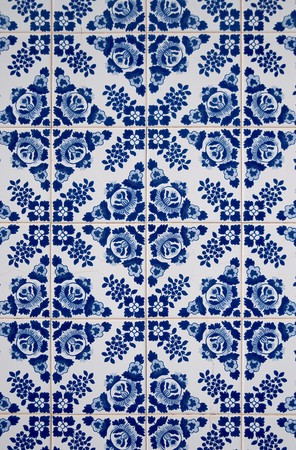 Old traditional portuguese dacade tiles background. photo