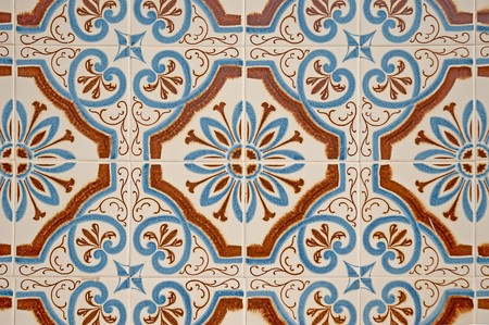 ceramic: Old traditional portuguese dacade tiles background.
