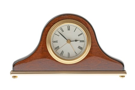 Old clock isolated on white background. photo