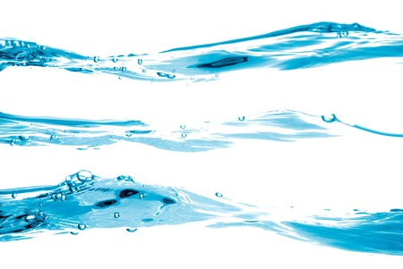 pure water: Blue water waves flowing isolated on white background. Stock Photo