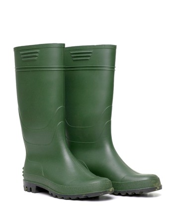 gumboots: Green rubber boots isolated on white background.