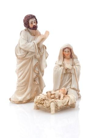 Ceramic nativity scene isolated on white background. Stock Photo