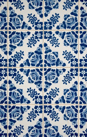 portuguese: Traditional Portuguese azulejos, painted ceramic tilework. Stock Photo