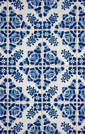 Traditional Portuguese azulejos, painted ceramic tilework. Stock Photo