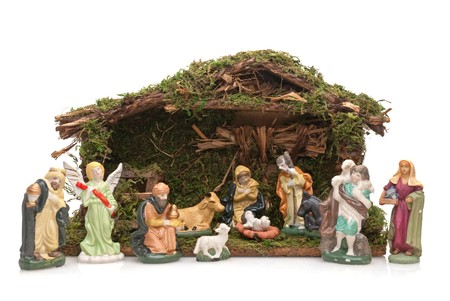 3 month: Christmas Crib isolated on white background.