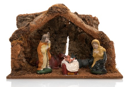 Christmas Crib isolated on white background. photo