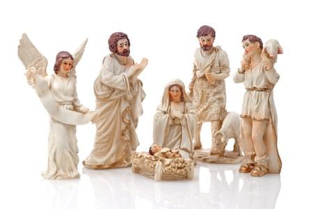 mantel: Presepe di Natale isolato su sfondo bianco.  Archivio Fotografico