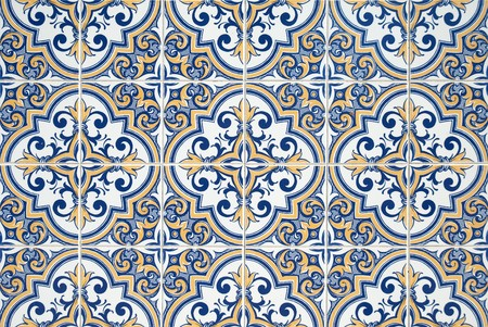Traditional Portuguese azulejos - painted ceramic tilework. Stock Photo - 8223326