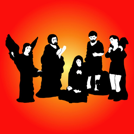 mantel: Christmas Crib silhouette. Illustration
