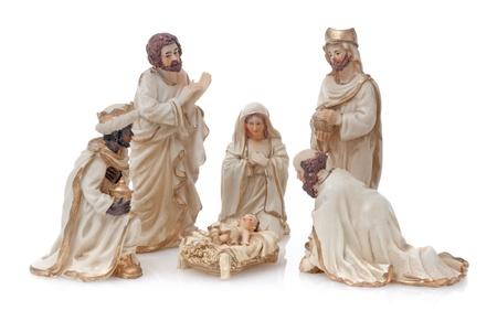 mantel: Christmas Crib isolated on white background.