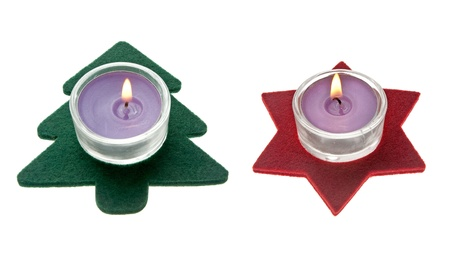 Red star and green pine tree  Christmas decorations with candles photo
