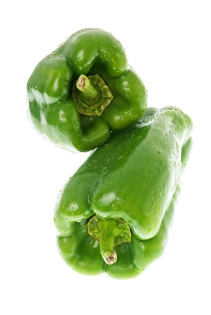 Green pepper on white background close up isolated on white background. photo