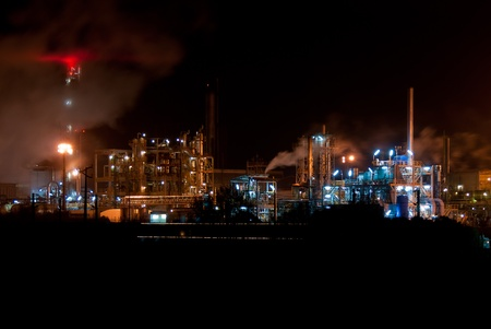carbon steel: Night view of a industrial park. Stock Photo