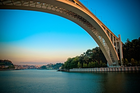oporto: Oporto bridge at beautiful sunset. Stock Photo