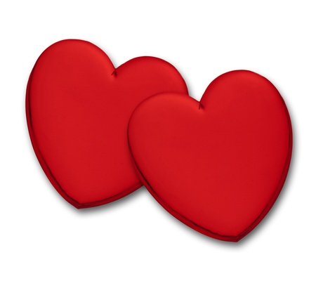 Two glossy red hearts on white background. photo