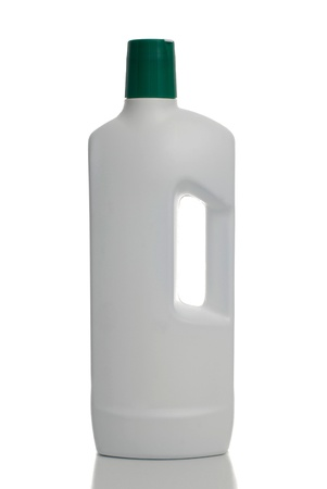 White plastic bottle green cap isolated on white with clipping paths. photo