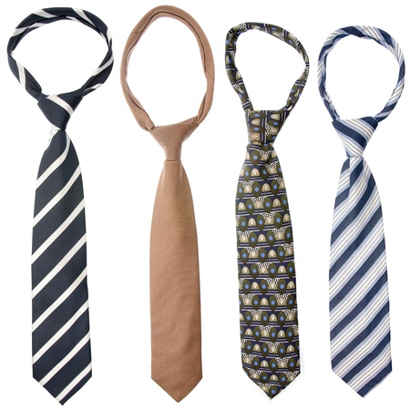 silk tie: Four ties isolated on white background. Stock Photo