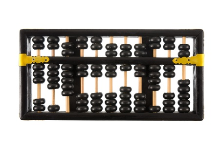 abaci: Old wooden abacus isolated on white background.