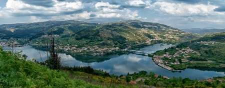 Panoramic view of Douro Valley - Town Oliveira do Douro. Portugals port wine region. Point of interest in Portugal.