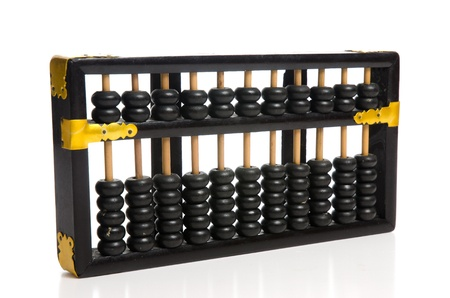 Antique Abacus with reflection on white background. photo