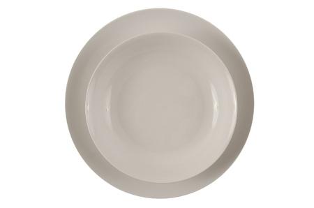 Round white plates isolated on white background. photo