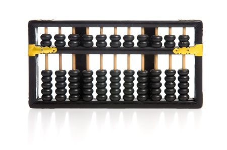 Old wooden abacus on white background with reflextion. photo