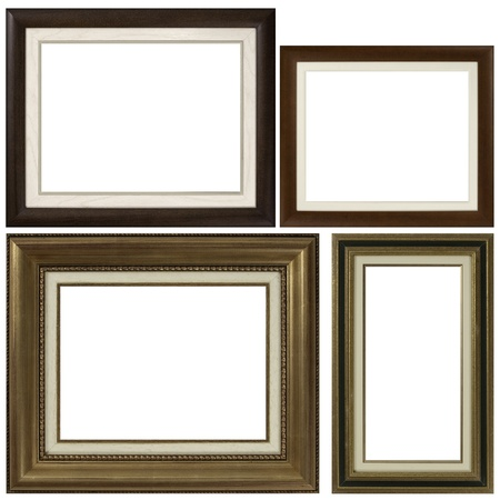 picture frame on wall: Four antique picture frames isolated on white background.