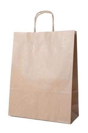 reciclable: Bolsa de papel reciclable aisladas sobre fondo blanco.