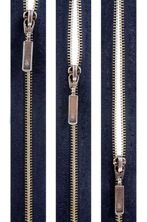 half open: Zipper. Closed, Half Open, Open isolated on white backtroun.