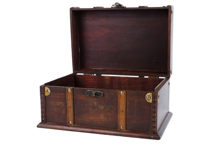 Open antique wooden trunk isolated on on white background. photo