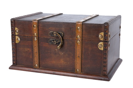 treasure chest: Closed antique wooden trunk isolated on on white background.