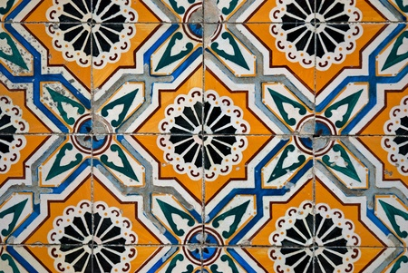 spanish tile: Colorful vintage spanish style ceramic tiles wall decoration.