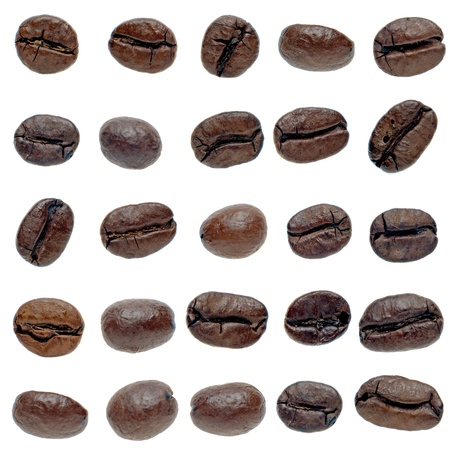 Set of coffee beans isolated on white background.