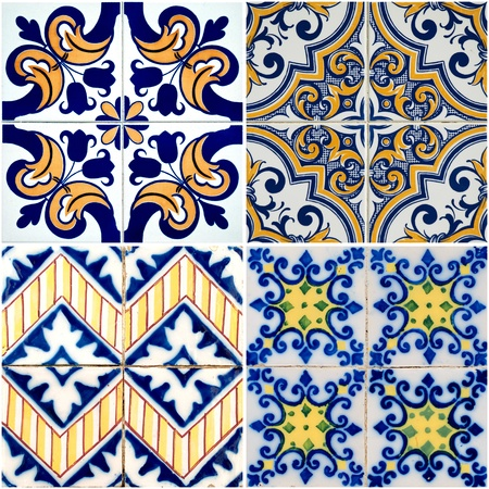 spanish tile: Colorful vintage ceramic tiles wall decoration. Stock Photo