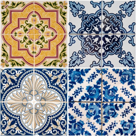 spanish style: Colorful vintage ceramic tiles wall decoration. Stock Photo