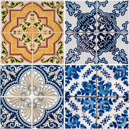 ceramics: Decoraci�n de paredes de baldosas de cer�mica vintage colorida.